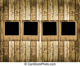 Old slides on the abstract wooden background
