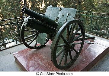 Old small artillery gun.
