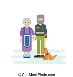 Old small family and dog