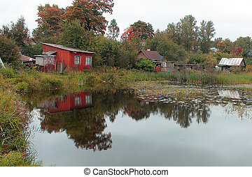 old small houses on the lake