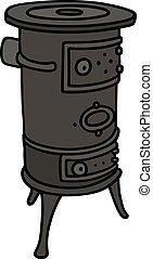 Old small stove - Hand drawing of an old small stove