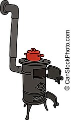 Old small stove - Hand drawing of an old small stove with a...