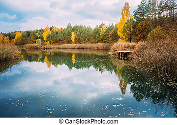 Old Small Wooden Pier For Fishing And Beautiful Lake