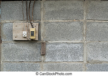 old socket, electrical outlet on the wall