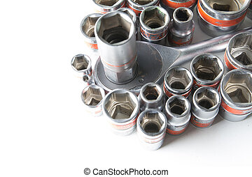 old group socket wrench on a white background