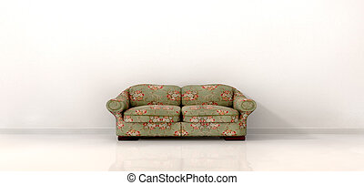 Old Sofa In Empty White Room - An front view of an old ...