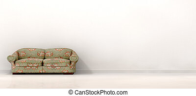 Old Sofa In Empty White Room - An front view of an old...