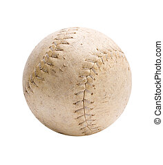 Old Softball - Studio shot of Weathered Softball isolated on...
