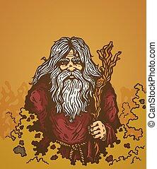 old sorcerer - Illustration of a old man with staff