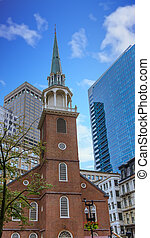 Old South Meeting House and Modern Boston