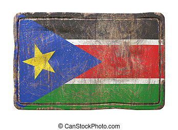 Old South Sudan flag - 3d rendering of a South Sudan flag...