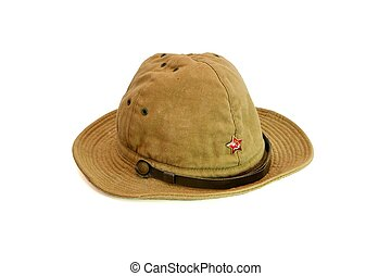 Old soviet army summer hat isolated