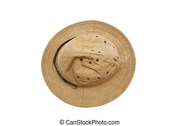 Old soviet army summer hat top view isolated