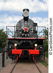 Old soviet black locomotive