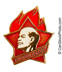 Old Soviet pioneer badge isolated on white background