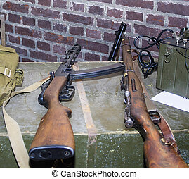 Old soviet russian red army submachine gun pps-43 of world
