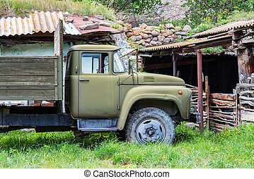 Old Soviet truck ZIL remaining in Caucasus, Russia