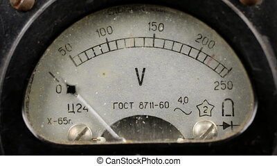 Old soviet voltmeter measures the voltage in the network....