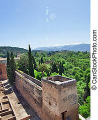 Old Spanish castle in Granada. Alhambra. Spain