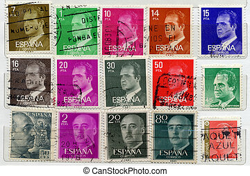 old Spanish post stamps