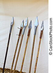 Old Spears - Six antique spears leaning on canvas