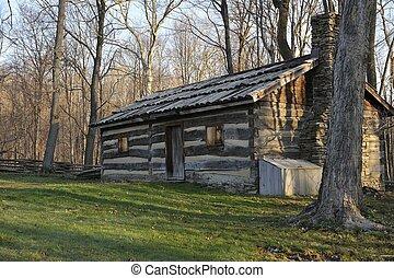 Old Split Log Cabin in The Woods