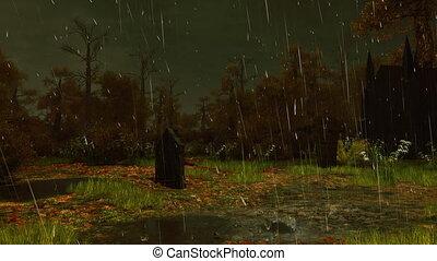 Old spooky cemetery at rainy night 4K