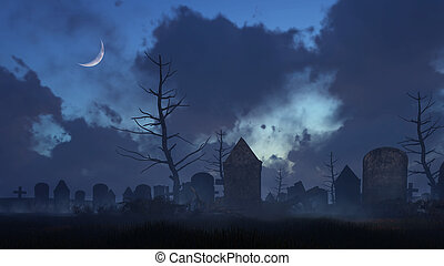 Old spooky graveyard at moonlight night