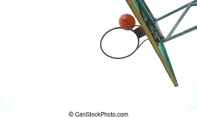 old sport basketball hoop bottom view outdoors rusty iron...