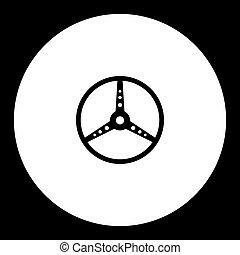 old sport car steerin wheel black icon eps10