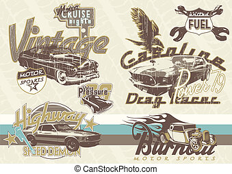old sport cars - illustration for poster and printing