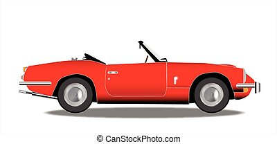Old Sports Car - A classic old British sports car in red...