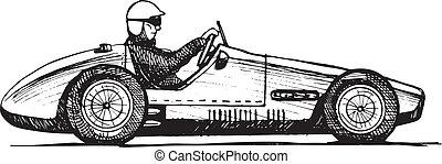 old sports car - Vector drawing of formula 1 racing car...