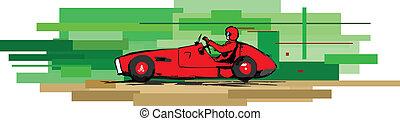 old sports car - vector impression illustration of retro...