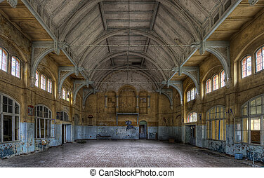 old sports hall - The old hospital complex in Beelitz near...