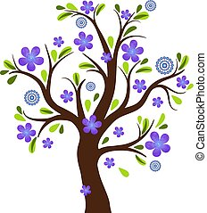 Old spring tree with purple watercolor flowers.