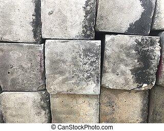 old square concrete blocks in full frame shot