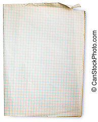 Old square lined paper from note book. Clipping path included to easy remove object shadow or replace background.