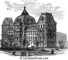 Old St. Louis County Courthouse or Old Courthouse in St. Louis, Missouri, USA, during the 1890s, vintage engraving. Old engraved illustration of Old St. Louis County Courthouse with people infront.