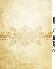 Old stained vintage paper background with decorative elements..