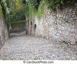 Old Staircase in the grove, Bergamo alta - Italy