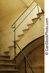 old staircase. Photo in old image style.