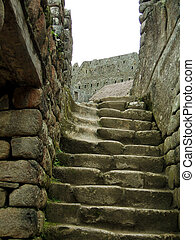 Old Stairs - Ruins of Machu Picchu in the andes of peru.