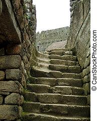 Ruins of Machu Picchu in the andes of peru.