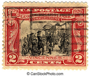 old stamp 1929 year, USA, with George Rogers Clark -...