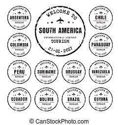 old stamps with the name of the South American countries.