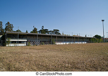 Old stand of a demolished football stadium