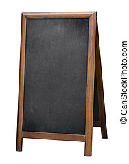 old standing menu blackboard isolated with clipping path -...