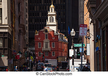 Old State House in Boston city, Massachusetts, USA