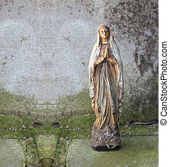old statue of virgin Mary